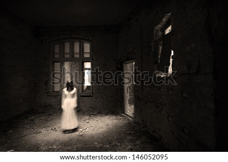Horror movie scene: appearance moment - stock photo