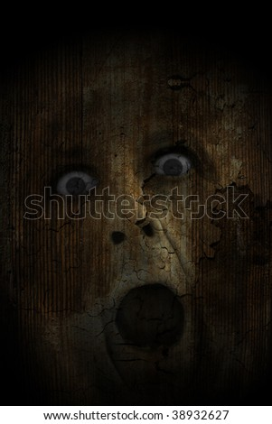 Horror rotten skin face. It is suitable for posters, cover book...etc. White text easy to remove-replace. - stock photo