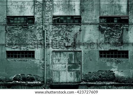 Horror scene of a old grunge facade  - stock photo