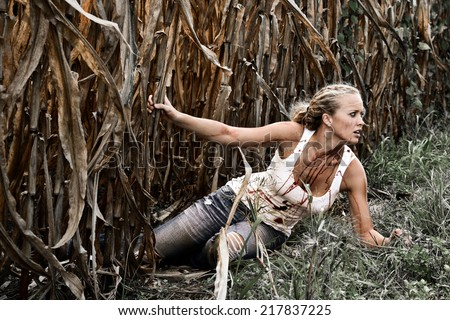 Horror Scene of a Pretty Blonde Woman falling in a Corn Field  - stock photo