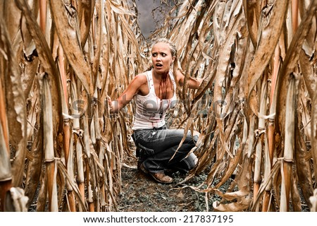 Horror Scene of a Pretty Blonde Woman Hiding in a Corn Field  - stock photo