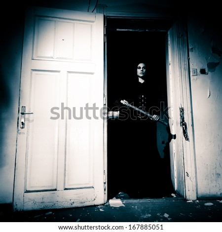 Horror Scene of a Scary Woman.  - stock photo