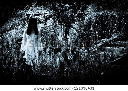 Horror scene of a scary woman. Apparitions of the lady's ghost.