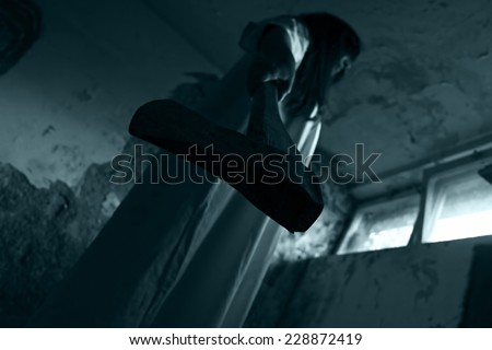 Horror scene of scary woman - stock photo