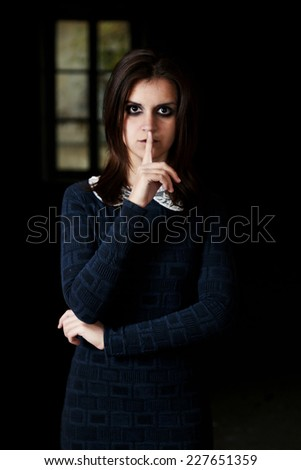 Horror Scene of with scary woman in long dress - stock photo