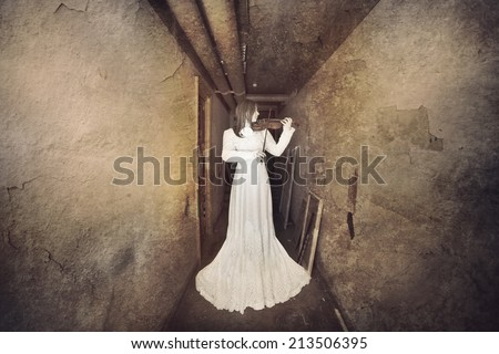 Horror scene with white dress scary girl - stock photo
