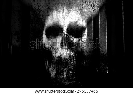 Horror Skull,Black And White Horror Background For Halloween Concept And Movie Poster Project - stock photo