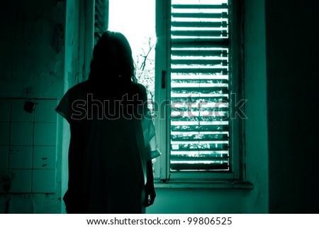 Horror woman - stock photo