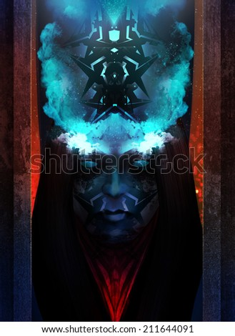 Horror woman portrait. Horror and scary tribal woman portrait with blue fire crown character design. - stock photo