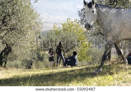 horse and family in the background - stock photo