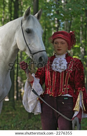 Horse and girl - stock photo