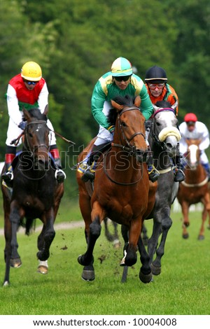 horse and jockey at race-course up to the finish line - stock photo