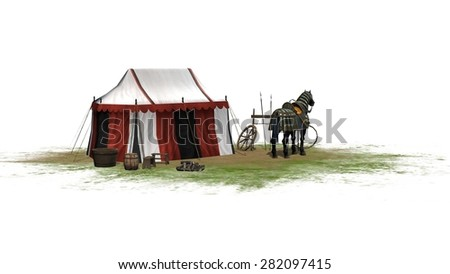 Horse and knight tent isolated on white background - stock photo