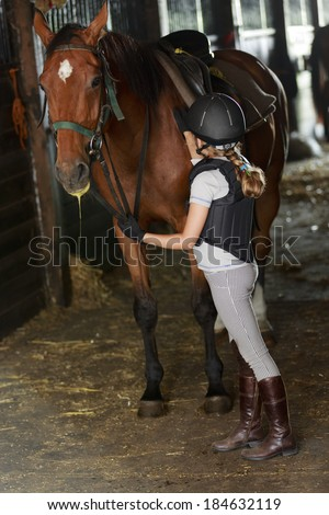 Horse and lovely equestrian girl in the stable - stock photo