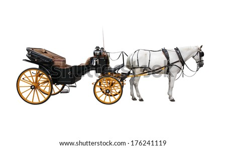 Horse and nice vintage coach with big yellow wheels. Isolated on white - stock photo