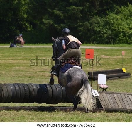 horse and rider taking jump in a local steeplechase - stock photo