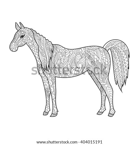 Horse animal coloring book for adults raster illustration. Anti-stress coloring for adult. Zentangle style. Black and white lines. Lace pattern