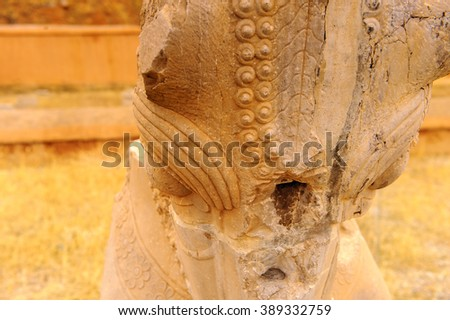 Horse atatue at the Ancient city of Persepolis, Iran. UNESCO World heritage site - stock photo