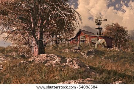 Horse Barn And Windmill - stock photo