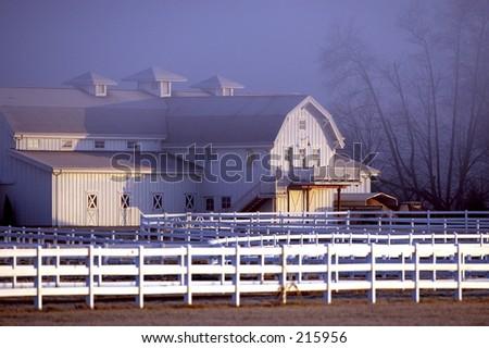 Horse barn cold winter morning - stock photo