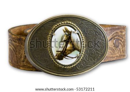 horse belt buckle on leather belt - stock photo
