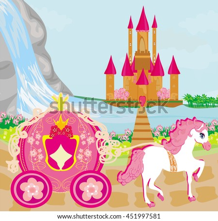 horse carriage and a medieval castle  - stock photo