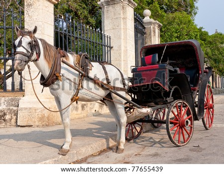 Horse carriage in Old Havana - stock photo