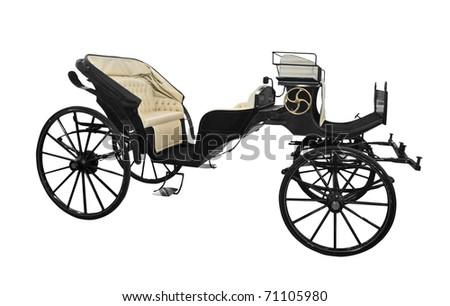 horse carriage isolated on white background - stock photo