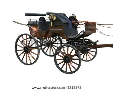 Horse Carriage separated on white - stock photo