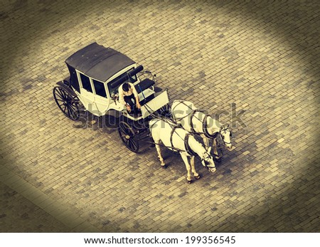 Horse carriage waiting for tourists in Prague, vintage style. - stock photo