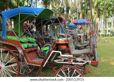 Horse carriages for tourist services in Lampang Thailand - stock photo