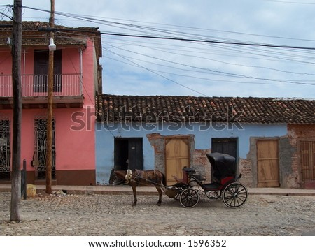 Horse cart in Trinidad, Cuba - stock photo
