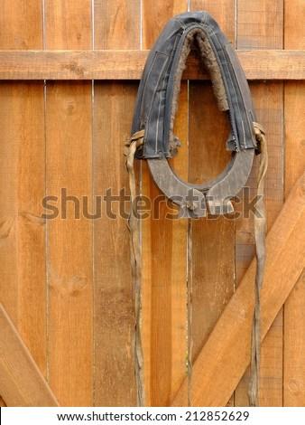 Horse collar hanging on a wooden door. - stock photo