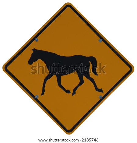 Horse Road Sign Horse Crossing Sign Stock