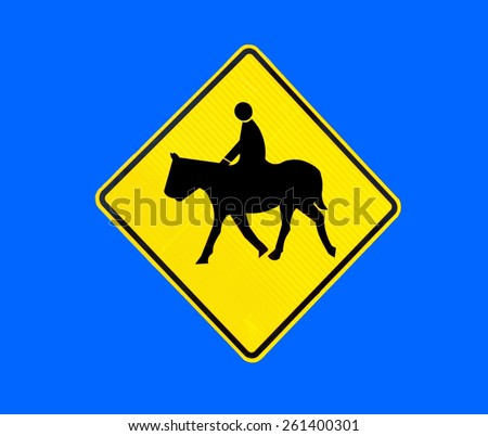 Horse Crossing sign at rural Georgia, USA. - stock photo