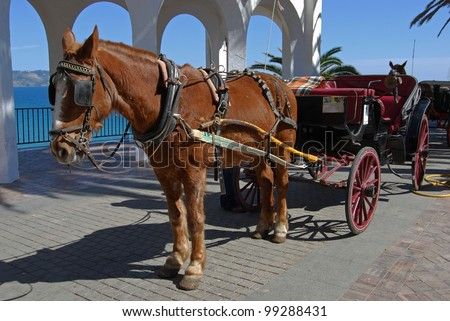 Horse drawn carriage along the Balcony of Europe (Balcon de Europa), Nerja, Costa del Sol, Malaga Province, Andalusia, Spain, Western Europe. - stock photo