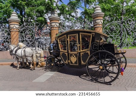 horse-drawn carriage (carriage) - tourist transport in Saint Petersburg. Russia - stock photo