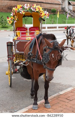 Horse drawn carriage in Lampang; Thailand - stock photo