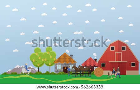 Horse farm, stable, horses and stablemen. Girl and woman riding adult and little horse pony respectively. illustration in flat style