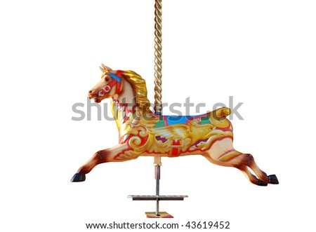 Horse from a musical fairground carousel, isolated on a pure white background.