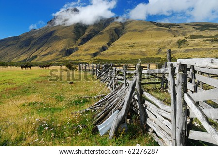 Horse Gate in Patagonia - stock photo