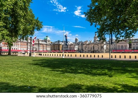 Horse Guards Parade on blue sky background. . London, UK - stock photo