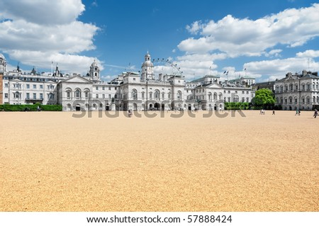 Horse Guards Parade,  with the London Eye in the background. - stock photo