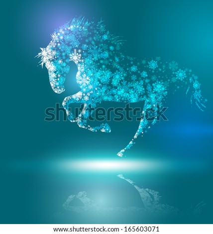 Horse. Happy new year 2014.  - stock photo
