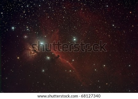 Horse Head and Flame Nebula - stock photo