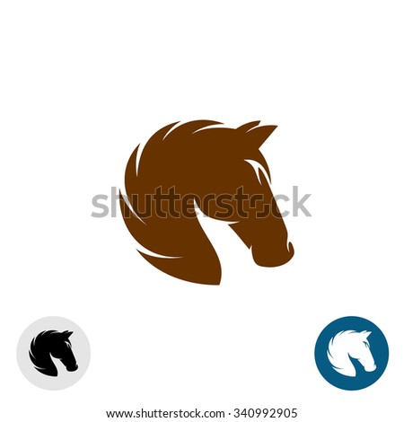 Horse head logo. Simple elegant one color silhouette. - stock photo