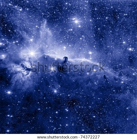 Horse Head nebula in blue color - stock photo