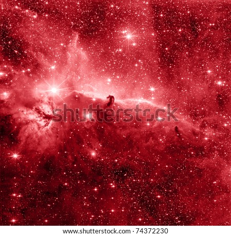 Horse Head nebula in red color - stock photo