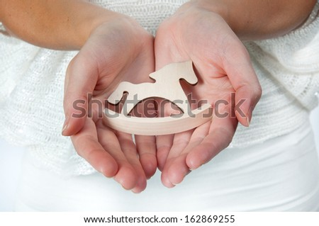 horse holding hands - stock photo