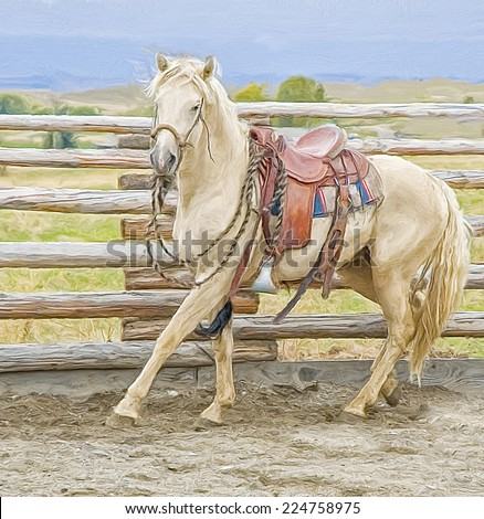 Horse in round pen for breaking - stock photo